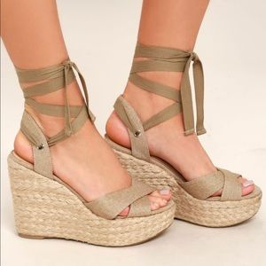 Lulu's Lace Up Wedges
